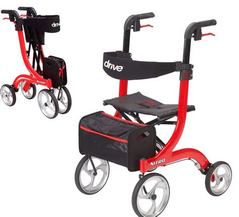 walker with bench seat nitro euro style red 4 wheel rollator rolling walker with