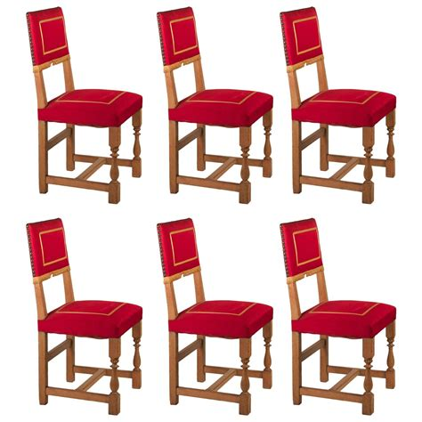 1940s Dining Room Furniture 1940s Set Of Six Oak Dining Chairs With Original Upholstery For Sale At 1stdibs
