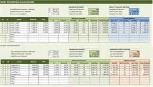 debt sheet template debt reduction calculator excel templates