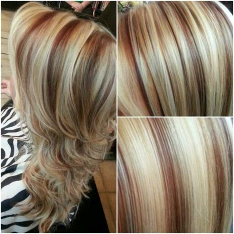 curly hair with lowlights gorgeous blonde and red highlights a platinum blonde