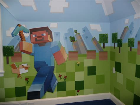 minecraft bedroom wallpaper meme hill studio minecraft mural madness