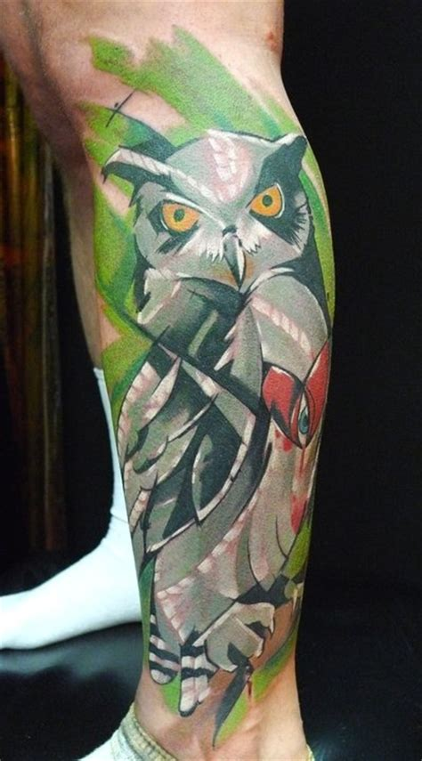 legs owl tattoo image 219991 on favim com peter bobek artistic owl on leg tattoo tattoos
