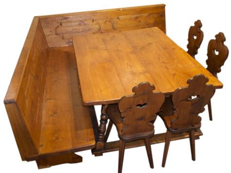 vintage german table bench   bavarian chairs