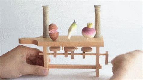 wood pattern gif whimsical wooden automata by kazuaki harada spoon tamago