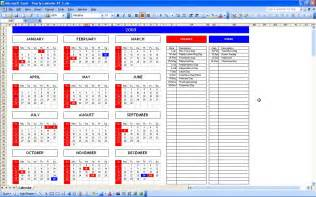 Events Calendar Template Excel by Yearly Calendar With Automatic Color Marker Excel Templates