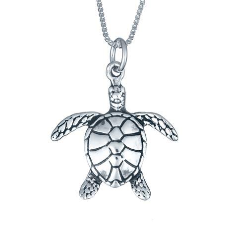 sterling silver medium sea turtle necklace landing company