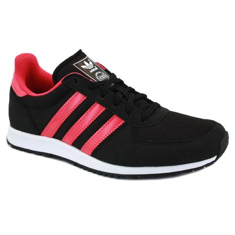 adidas adistar racer q23192 womens laced suede mesh trainers black pink
