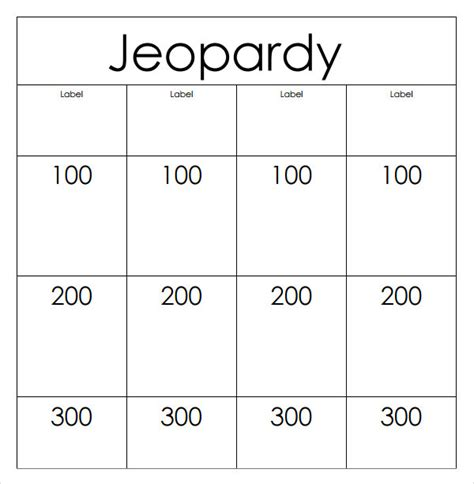 jeopardy printable template sle jeopardy 6 documents in pdf ppt
