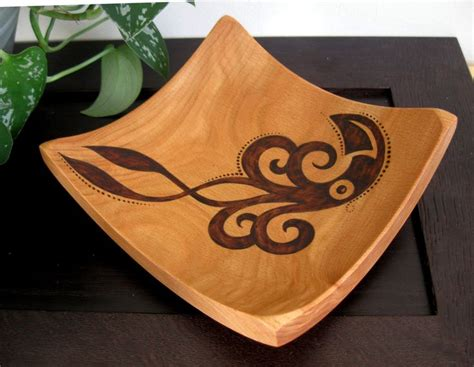 Wooden Bowl Abstract Squid Pyrography Design Woodburned By | pin by bethany ward on octopus things pinterest