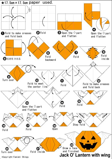 printable origami pumpkin instructions origami jack o lantern with wing instructions easy