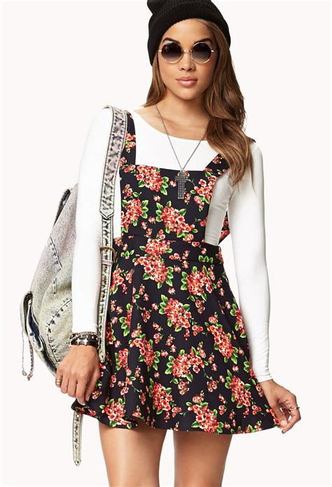 Floral Overall Set 1 forever 21 sweet floral overall dress in blue lyst