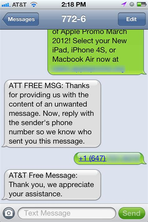 message to a report text message spam to at t tidbits