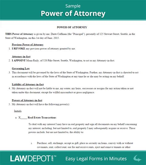 Power Of Attorney Form Free Poa Forms Us Lawdepot Free Poa Template