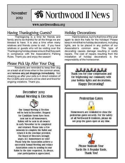 neighborhood newsletter template november 2012 northwood ii nwii hoa community