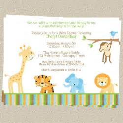 jungle baby shower invitations zoo or safari theme set of 10 printed invites with envelopes