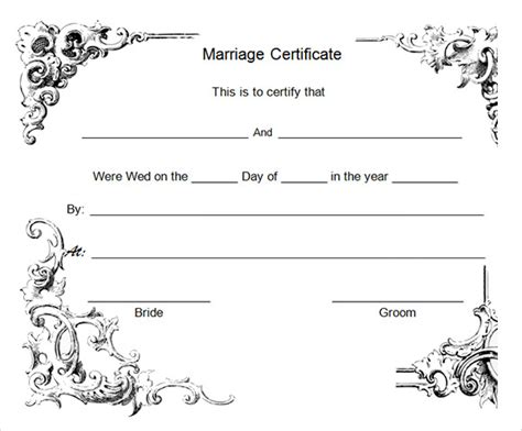 wedding certificate templates sle marriage certificate template 20 documents in