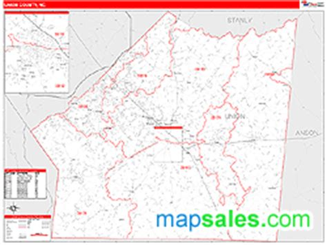 zip code map union county nc union county nc zip code wall map red line style by