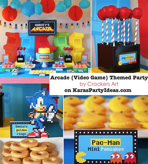 birthday video themes kara s party ideas arcade video game pac man sonic mario