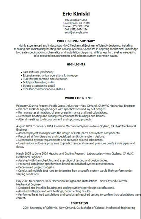 Mechanical Engineering Resume by Professional Hvac Mechanical Engineer Templates To