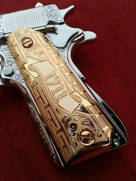 38 best images about tutorial on pinterest pistols 1911 german silver versace quot gold plated handmade grips 45