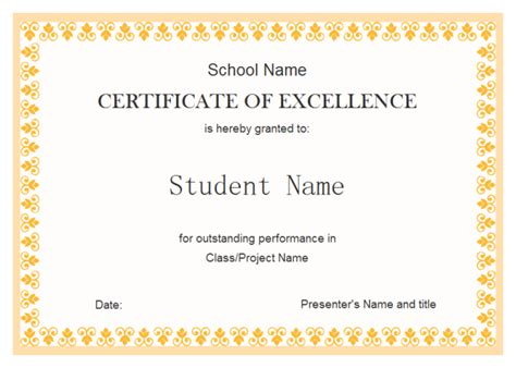 certificate of excellence template free free student excellence award certificate template with