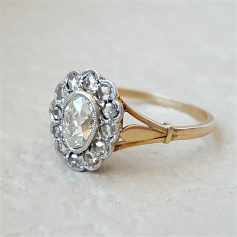 antique engagement ring mine cut pear halo