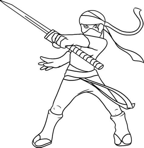 Cool Ninja Coloring Pages | drawn ninja cool kid pencil and in color drawn ninja