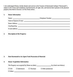 Deed Of Gift Letter Uk Sle Deed Of Gift Form 12 Sles Exles Format