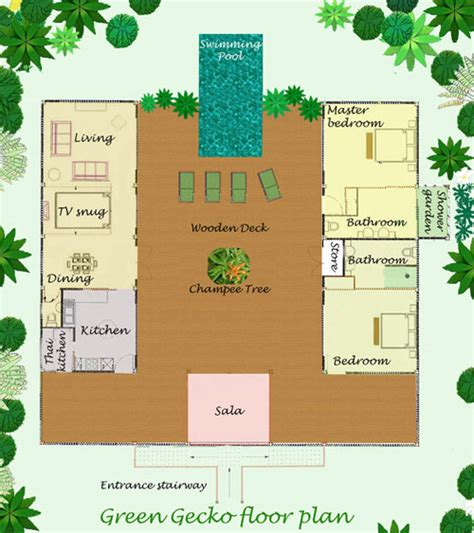 thai house design floor plan and layout of this thai holiday villa for rent