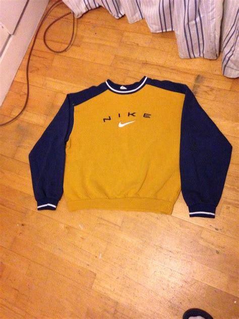 vintage supreme clothing nike vintage sweatshirt jumper mustard yellow blue supreme
