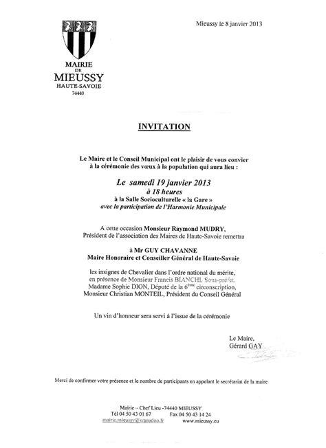 Modèle De Lettre D Invitation Pour Un Maire Un Suppl 233 Ment Pour Les Voeux Du Maire 2013 Le De