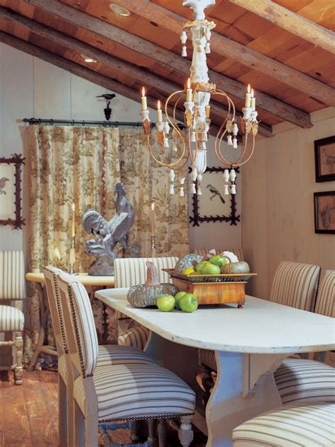 french country dining room  rustic wood ceiling hgtv