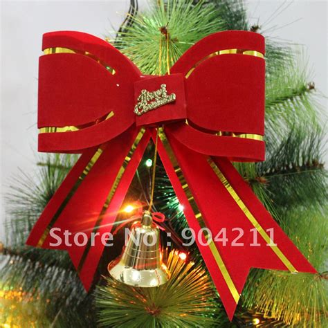 w 18cm pvc fabric red big bow christmas tree decoration