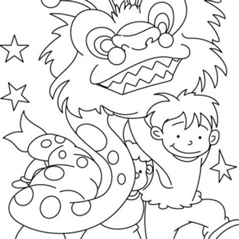 chinese new year lion dance coloring page group of kids practising lion dance for chinese new year