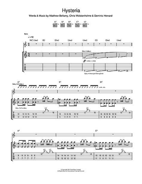 tutorial drum hysteria hysteria guitar tab by muse guitar tab 111486