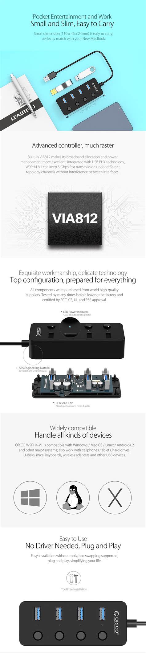Special Orico W9ph4 4 Port Portable Usb 3 0 Hub orico w9ph4 portable 4 ports hub usb3 0 pour ordinateur