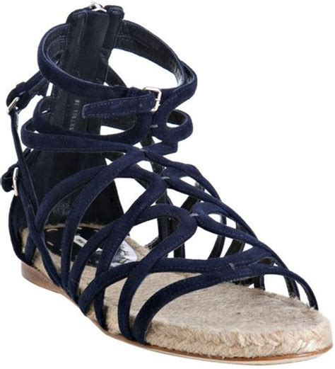 navy blue strappy sandals miu miu navy strappy suede flat sandals in blue navy lyst