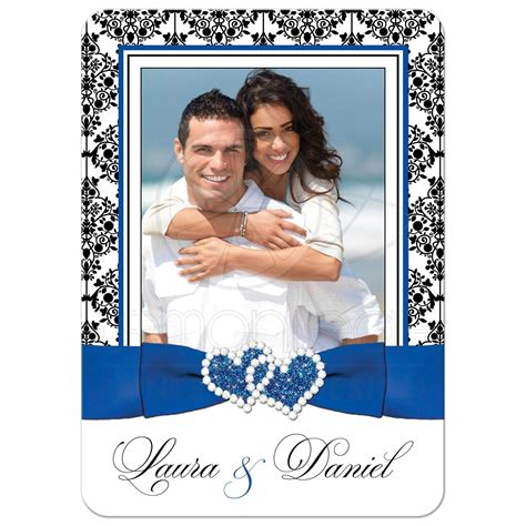 Wedding Invitations And White by Photo Template Wedding Invite Royal Blue White Black