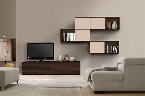 modern wall units with three levels complete with tv unit