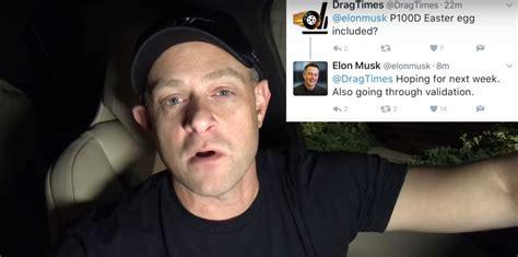 elon musk on twitter elon musk tweets validating p100d drag race easter egg