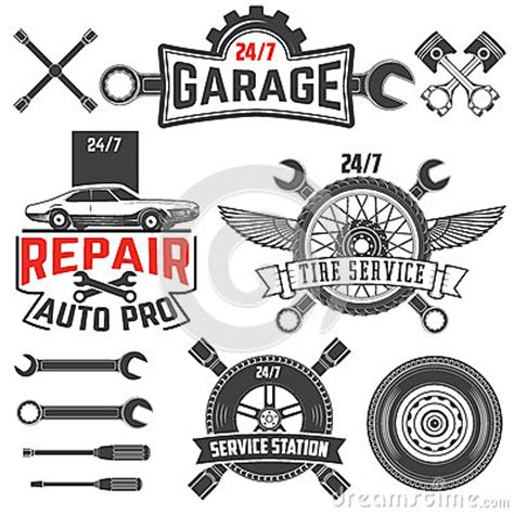 Logo 123 Auto Service by Vintage Retro Grunge Car Labels Stock Vector Image 64026840
