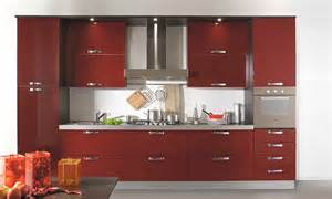 In red and cabinets with frosted glass impeccable designing