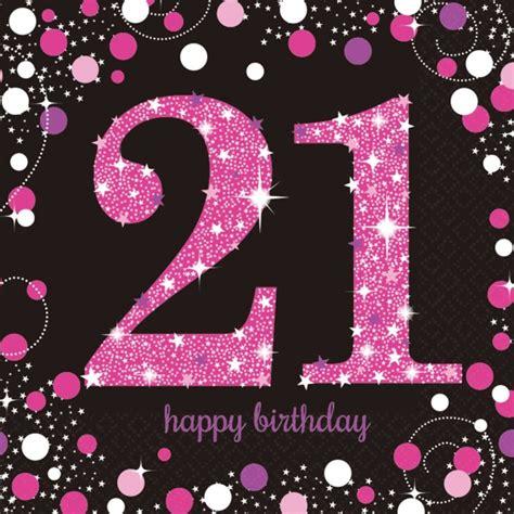 Pink celebration happy 21st birthday luncheon napkins 16 london helium balloons
