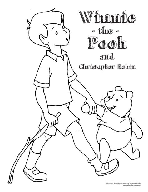 coloring pages of christopher robin doodles ave winnie the pooh and christopher robin