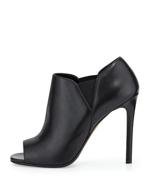 black open toe high heels prada open toe leather high heel bootie in black nero lyst