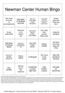 Human Bingo Template by Newman Center Human Bingo Bingo Cards To Print