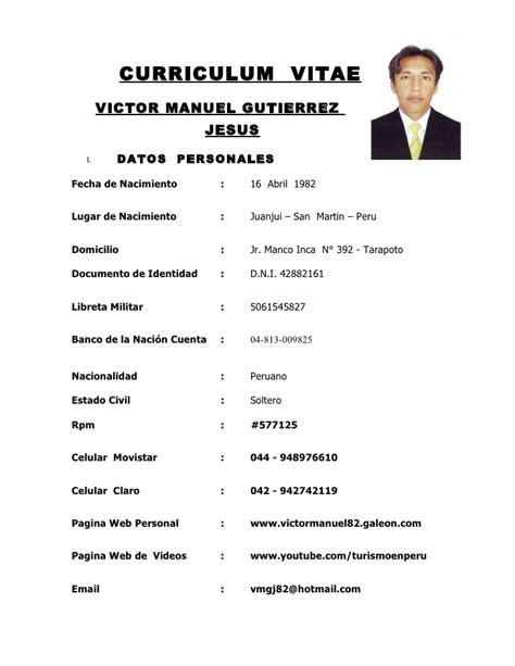 Modelo De Curriculum Vitae En Peru 2012 Curriculum Vitae Victor