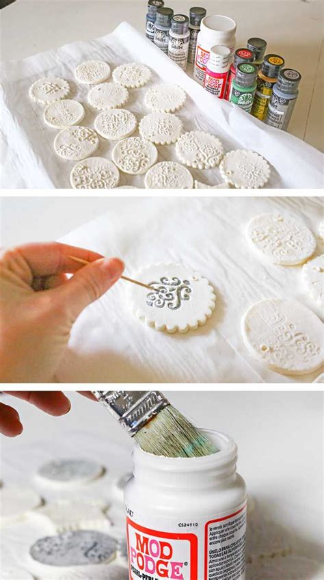 stamped clay ornaments  homemade clay recipe diy gifts