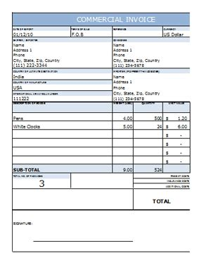 Commercial Invoice Template In Excel Commercial Invoice Template