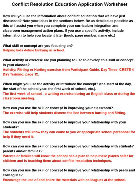conflict resolution skills worksheets the best worksheets